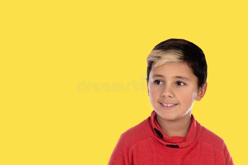 Fotopyschid med en gul bakgrund arkivfoton