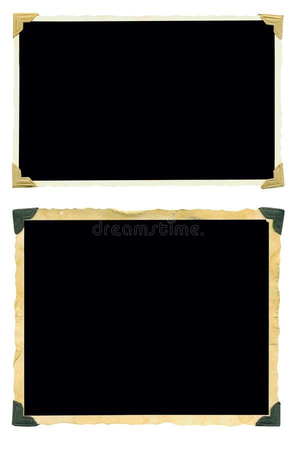 Fotorahmen, alte leere Fotos, lokalisiert auf Weiß stockbild
