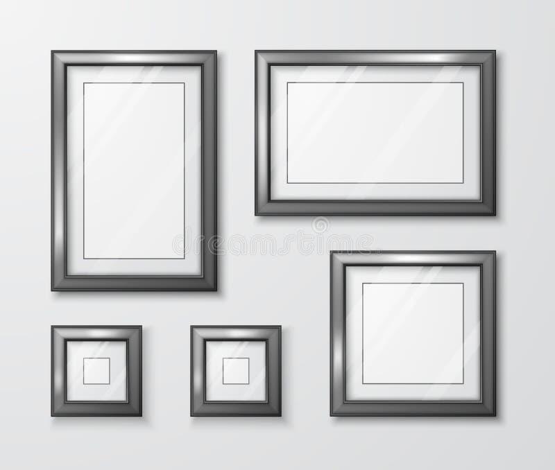 Fotorahmen auf grauer Wand Moderne leere Rahmenschablone mit transparentem Glas und Schatten Auch im corel abgehobenen Betrag vektor abbildung