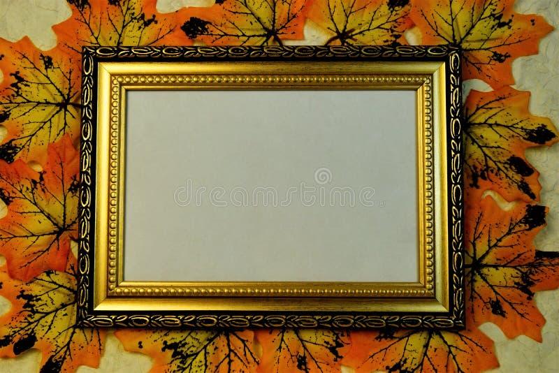 Fotorahmen, Aufschriften, Plaketten, Design, mit Goldverzierung auf dem Hintergrund von Herbstahornblättern stockbilder