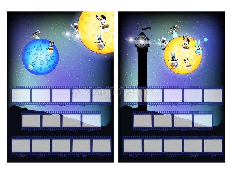 Fotorahmen eines Mondkaninchens und des Leuchtturmes lizenzfreie abbildung