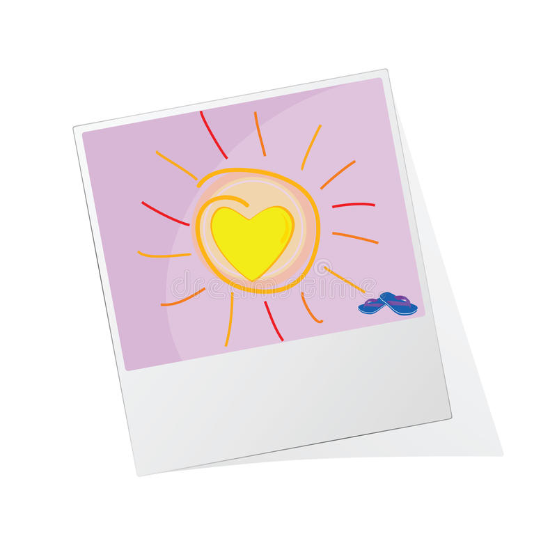 Fotorahmen mit Sonnenillustrationsvektor stock abbildung