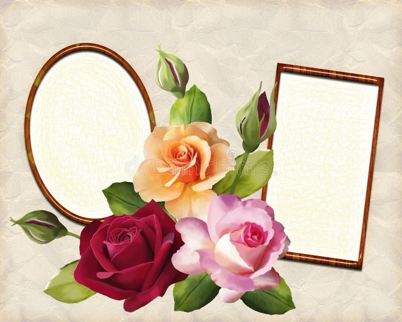 Fotorahmen und ein Blumenstrauß von Rosen in der Illustration stockbild