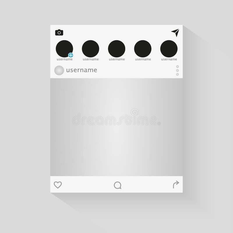 Fotorahmen-Vektorillustration des Sozialen Netzes Angespornt durch Sozialbetriebsmittel Spott herauf Vektorillustration lizenzfreie abbildung
