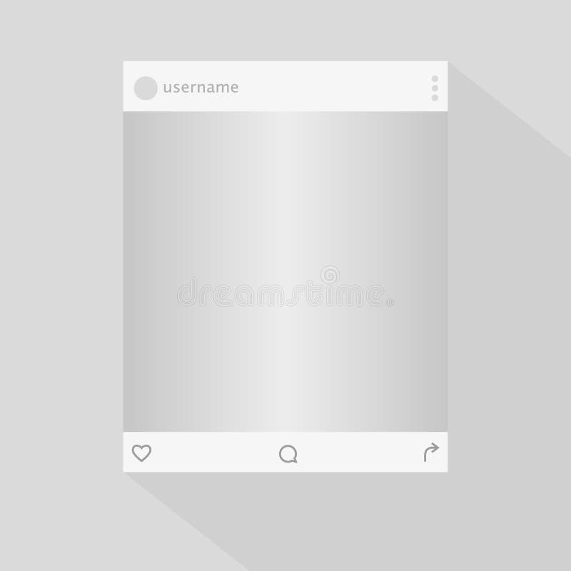 Fotorahmen-Vektorillustration des Sozialen Netzes Angespornt durch Sozialbetriebsmittel Spott herauf Vektorillustration stock abbildung