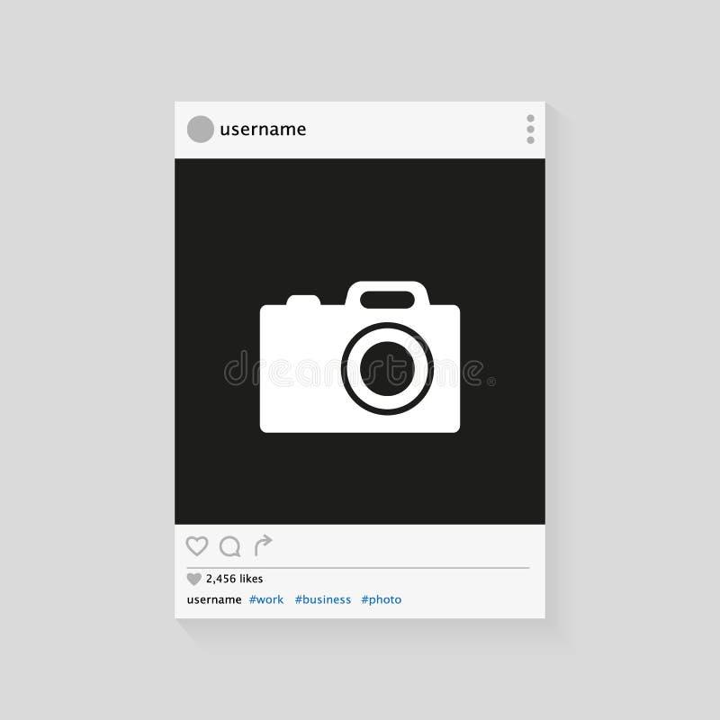 Fotorahmen-Vektorillustration des Sozialen Netzes Moderne Auslegung Rand der Farbband-, Lorbeer- und Eichenblätter stock abbildung