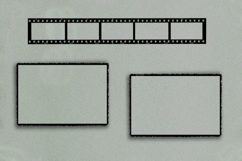 Fotoram med filmremsan och två rektangulära ramar arkivbild