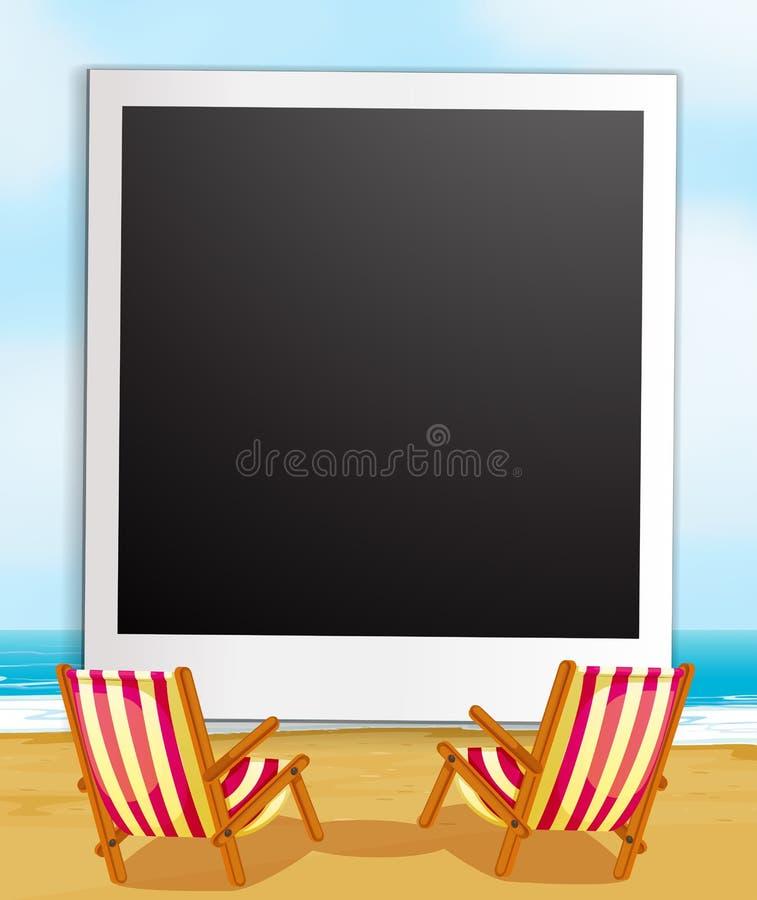 Fotoram och strand royaltyfri illustrationer