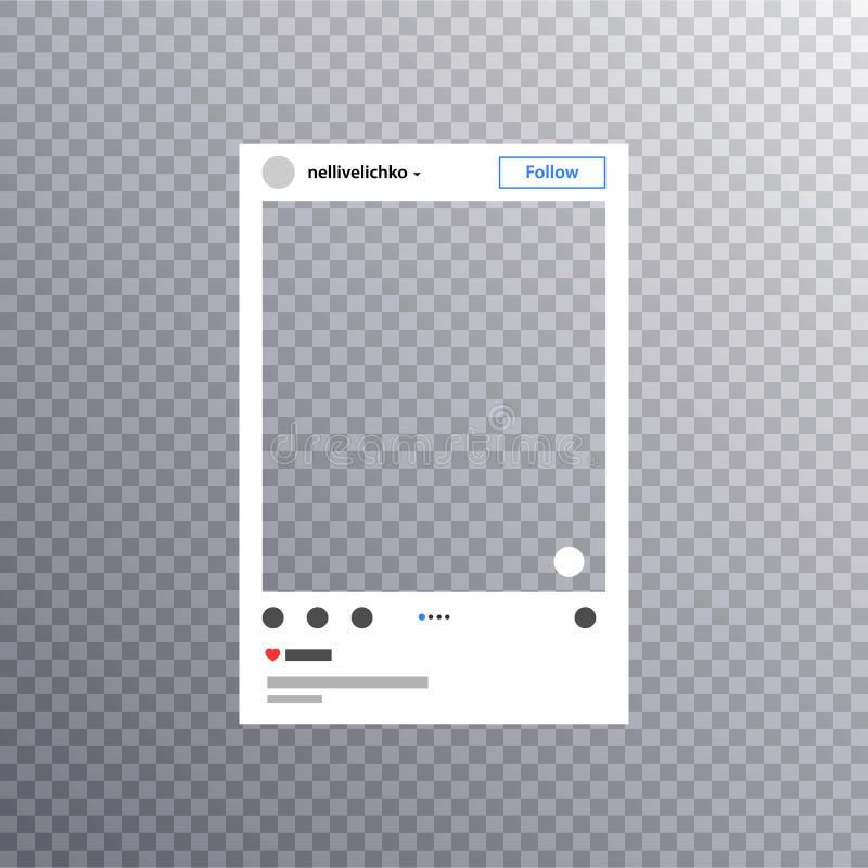 Fotoram som inspireras av instagram f?r att dela f?r v?ninternet Social stolpe för massmediafotoram i en social nätverksåtlöje up royaltyfri illustrationer