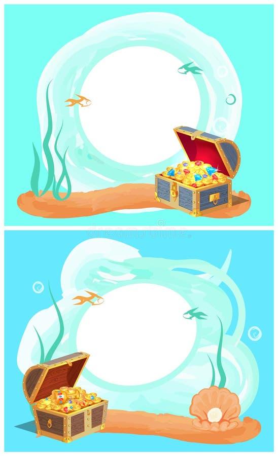 Fotoramar med havsbotten och dolde skatter stock illustrationer