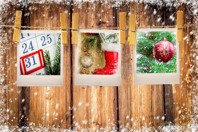 Fotoramar på julbakgrund kopiera avstånd royaltyfri bild