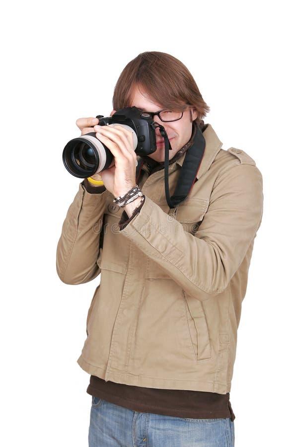 fotoreporter kamera faceta zdjęcia royalty free
