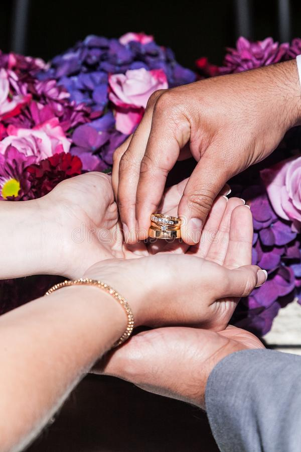 Fotoringen van de bruid en de bruidegom stock fotografie