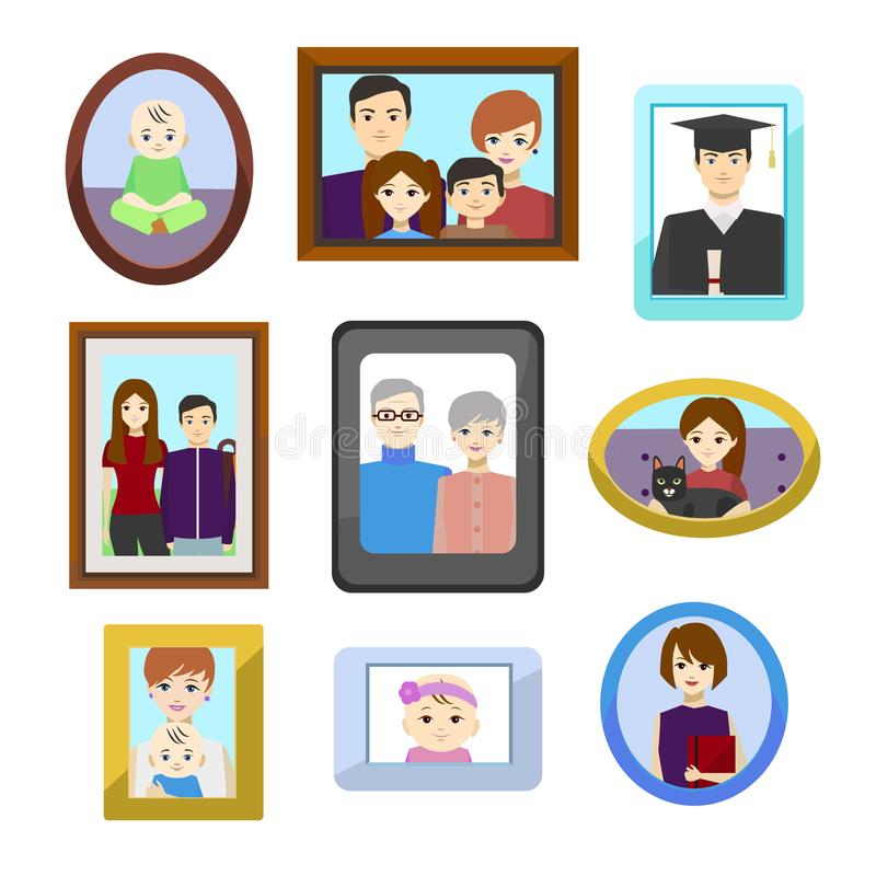 Fotos de família dos desenhos animados nos quadros da cor ajustados Vetor ilustração do vetor