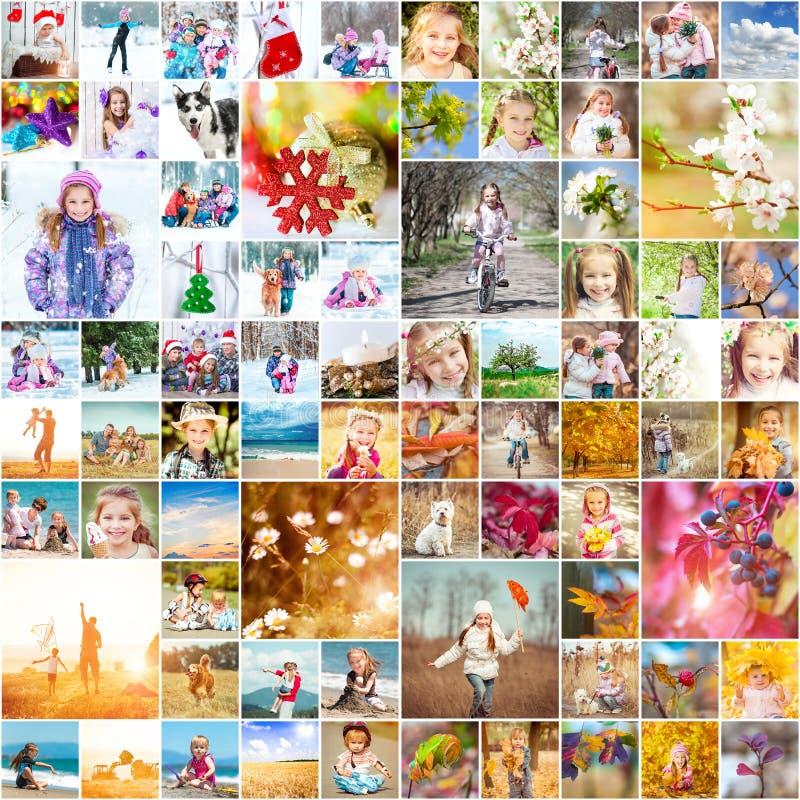 Fotos de familia en las cuatro estaciones imágenes de archivo libres de regalías