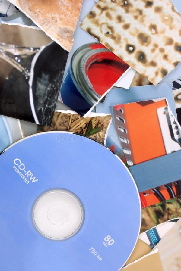 Fotos de papel al CD imagen de archivo