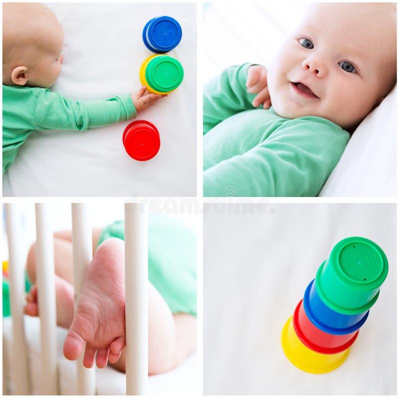 Fotos del collage de jugar y del descubrimiento del niño del bebé imagenes de archivo
