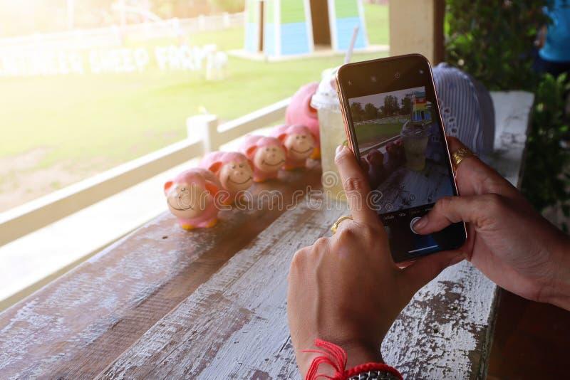 Fotos do close-up das mulheres que guardam um smartphone, tomando uma foto de uma caneca de café em uma cafetaria, humor de relax imagem de stock