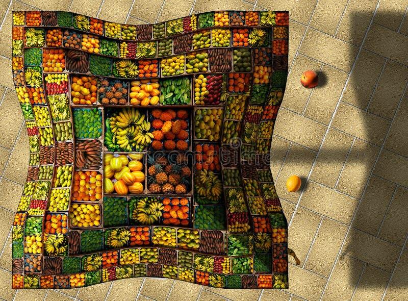 Fotos do fruto para decorar o guarda-chuva de um vendedor do fruto fotos de stock royalty free