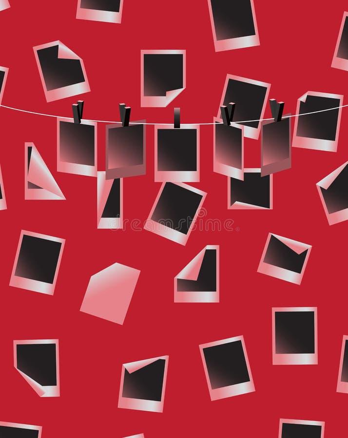 Fotos do Polaroid na parede do quarto escuro ilustração do vetor