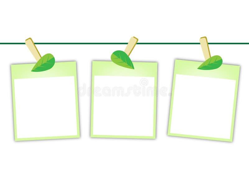 Fotos en blanco con las hojas verdes que cuelgan en Clothesl ilustración del vector
