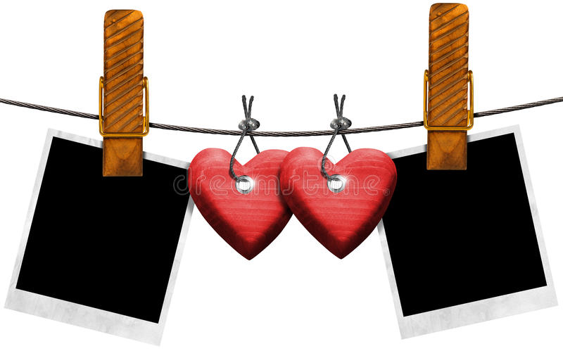 Fotos en blanco románticas que cuelgan en cuerda ilustración del vector