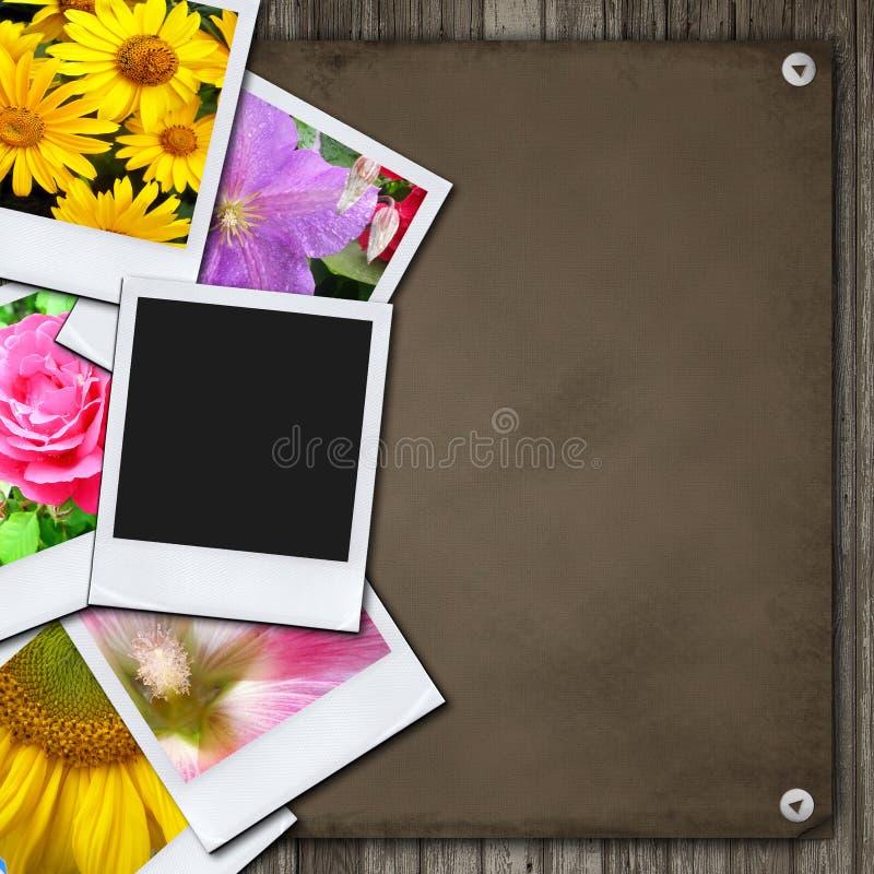 Fotos na mesa de madeira ilustração royalty free