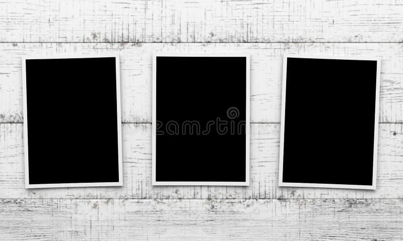 Fotos no fundo de madeira ilustração do vetor