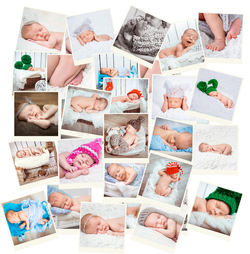 Fotos recién nacidas dulces de los bebés imagen de archivo libre de regalías