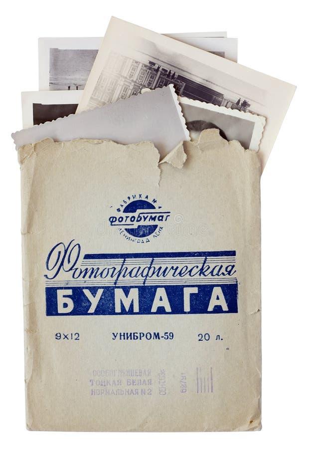 Fotos und Umschlag vom Fotopapier ab 1963 lizenzfreies stockbild