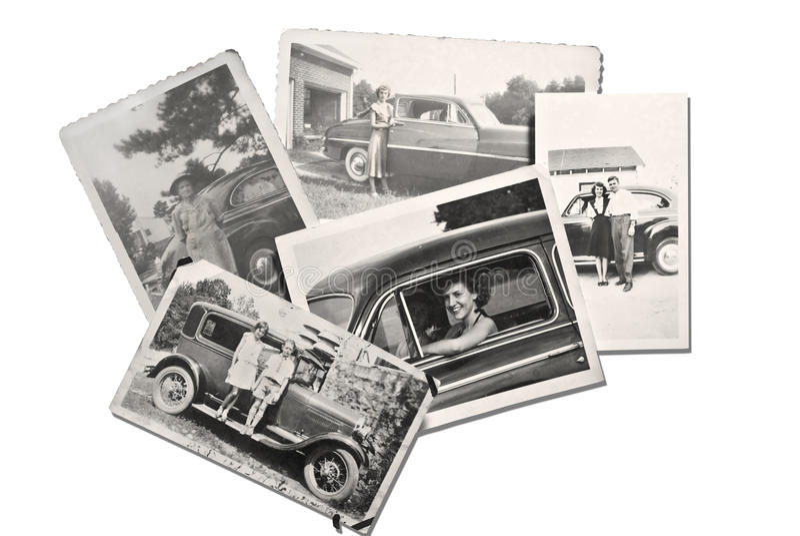 Fotos viejas gente y coches fotos de archivo libres de regalías