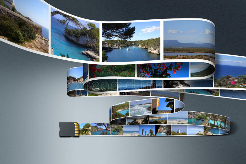 Fotos y tarjeta del SD stock de ilustración