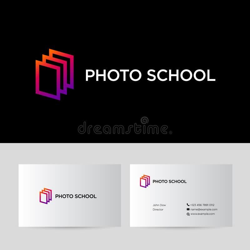 Fotoschulikone Steigung gestaltet Logo identität Unternehmensart stock abbildung