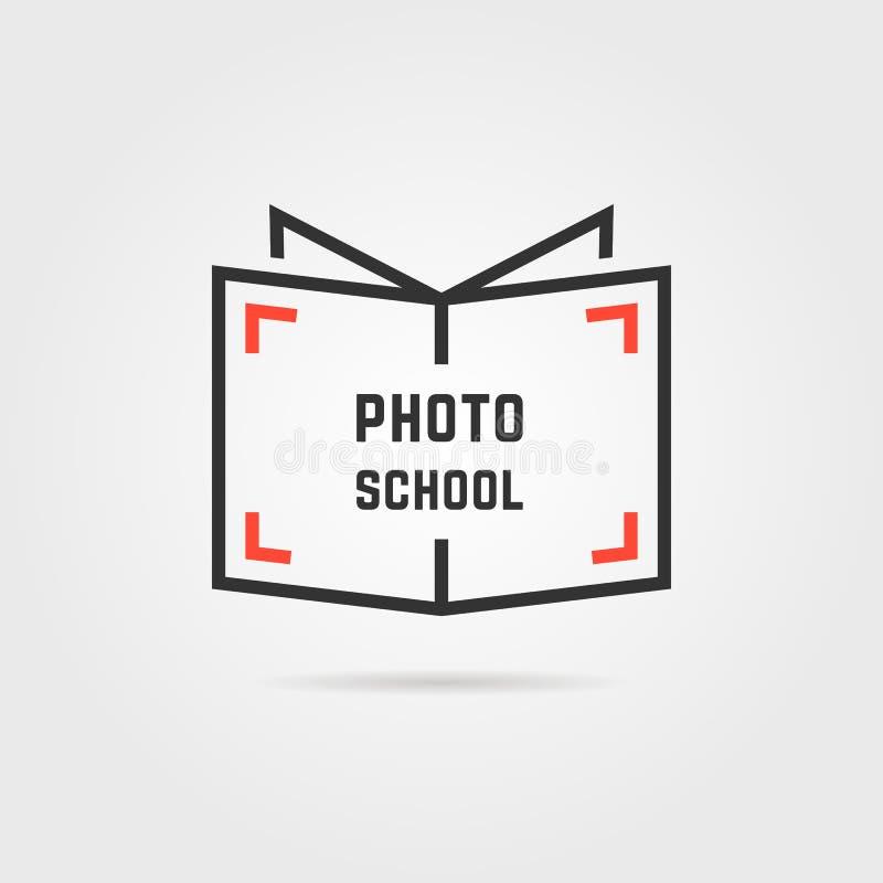 Fotoskolalogo med skugga vektor illustrationer