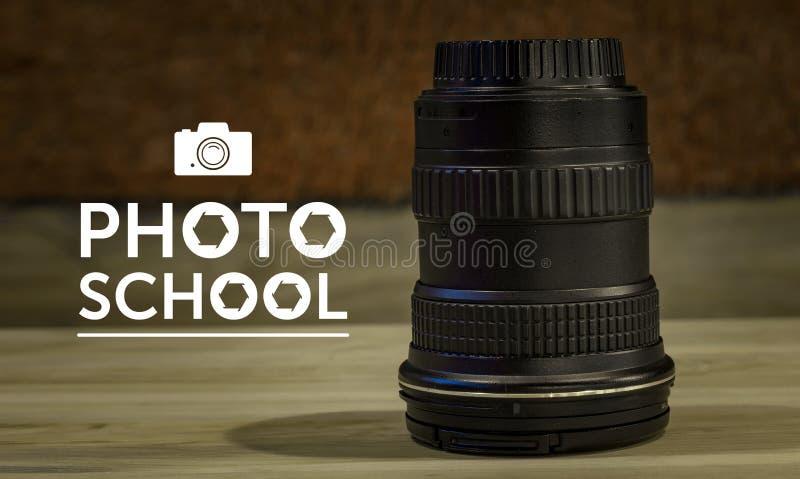 Fotoskolatext, logo, konst för design arkivbilder