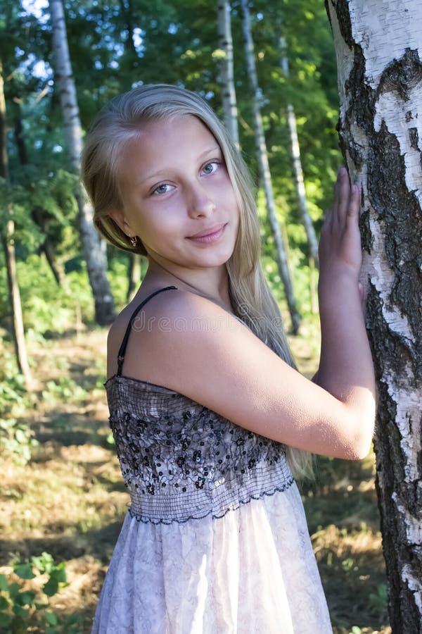 Fotostående av den tonåriga flickan i en björkdunge royaltyfri bild