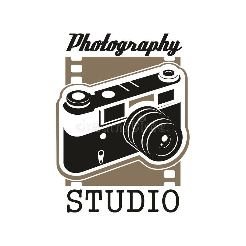 Fotostudiosymbol med den isolerade retro kameran vektor illustrationer