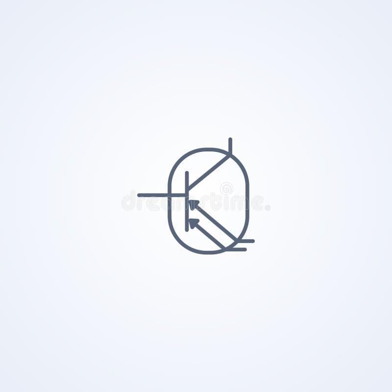 Fototransistor, vector beste grijs lijnsymbool stock illustratie