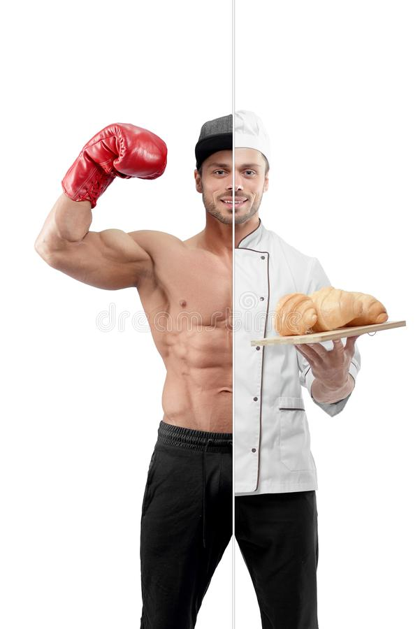 Fotovergelijking van bokser en chef-kokuitrusting stock foto's