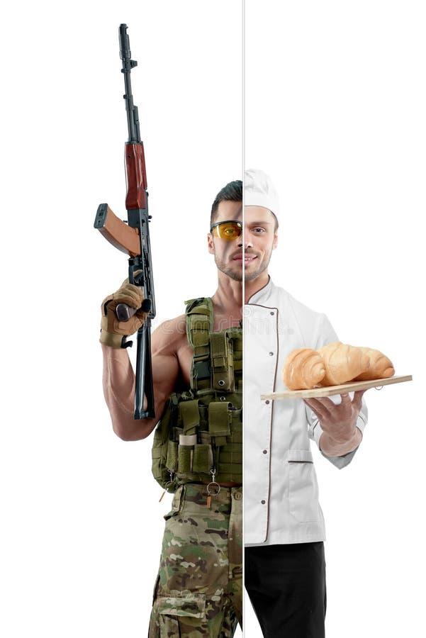 Fotovergelijking van eenvormige chef-kok en moderne militair stock foto's