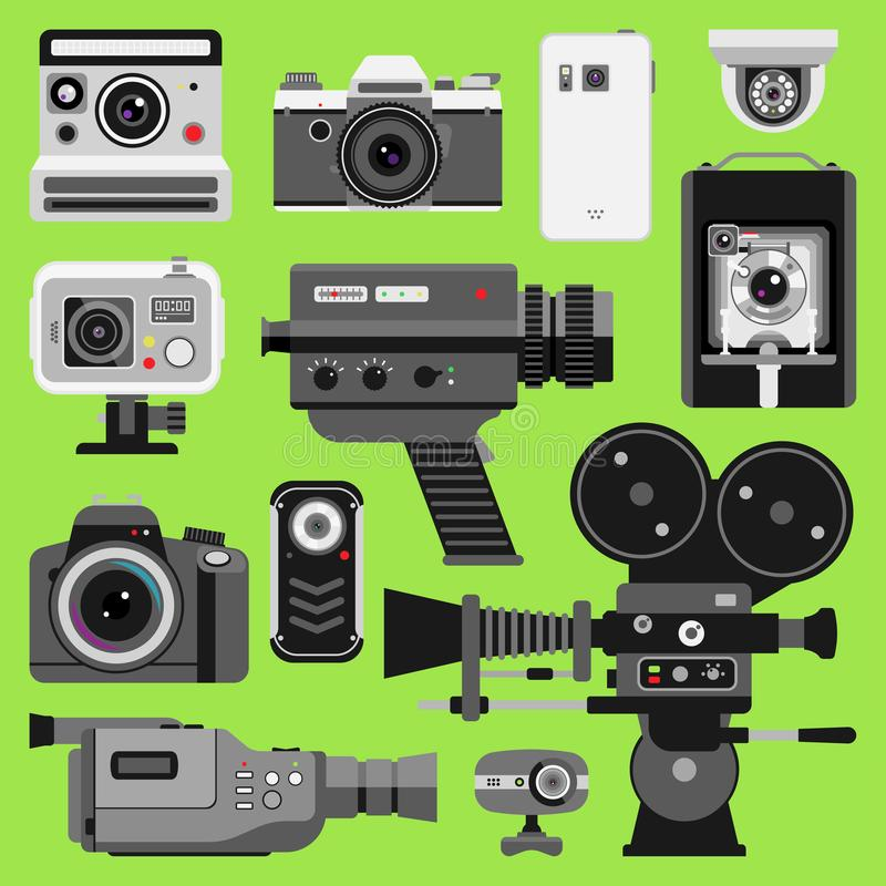 Fotovideovektorkamera-Werkzeug-Optiklinsen eingestellt Verschiedene Arten Foto-objektive Retro- Videoausrüstung, Berufs lizenzfreie abbildung