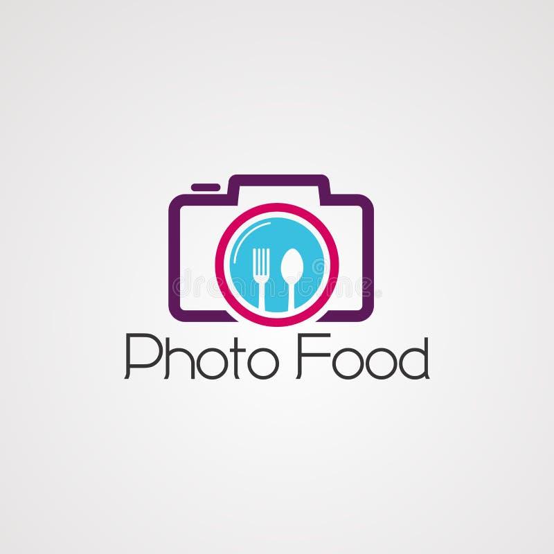 Fotovoedsel op de vector, het pictogram, het element, en het malplaatje van het cameraembleem voor bedrijf stock illustratie