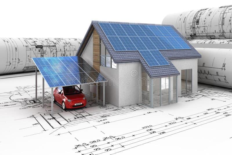 Fotovoltaico ad una Camera della famiglia nella pianificazione royalty illustrazione gratis