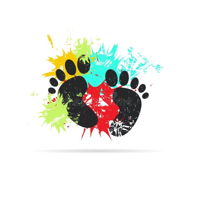 fotspår Grunge vektorillustration vektor illustrationer