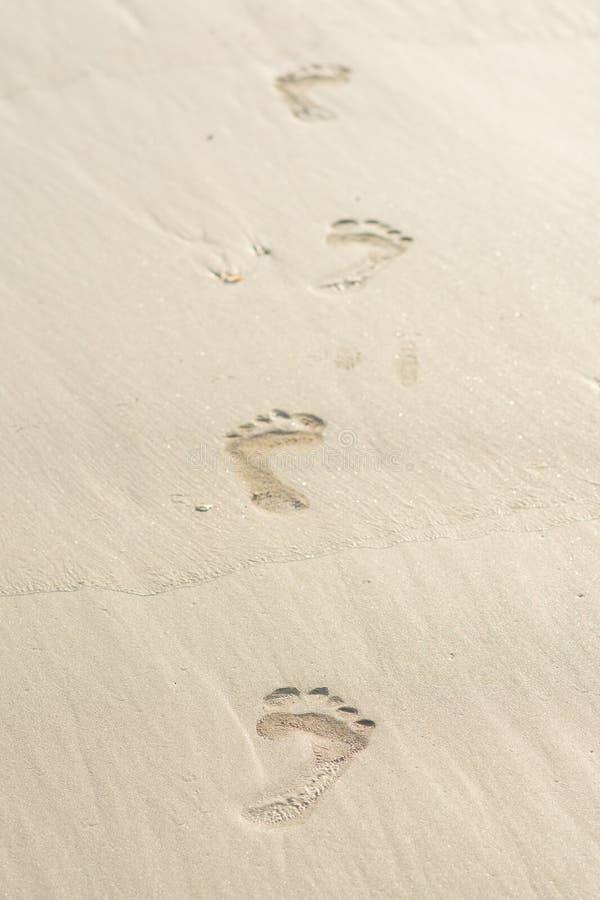 Fotspår i sanden på stranden fotografering för bildbyråer