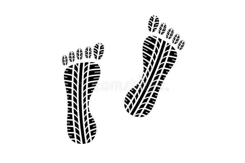 Fotspår med gummihjuldäckmönstermodellen vektor illustrationer