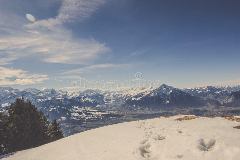 Fotspår och djurspår på snö med bakgrund för bergskedja och för blå himmel arkivbild