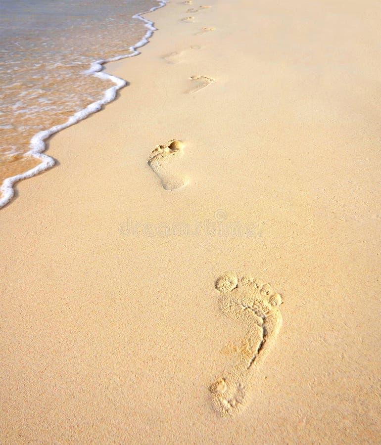 Fotspår på den sandiga stranden längs havet royaltyfri bild