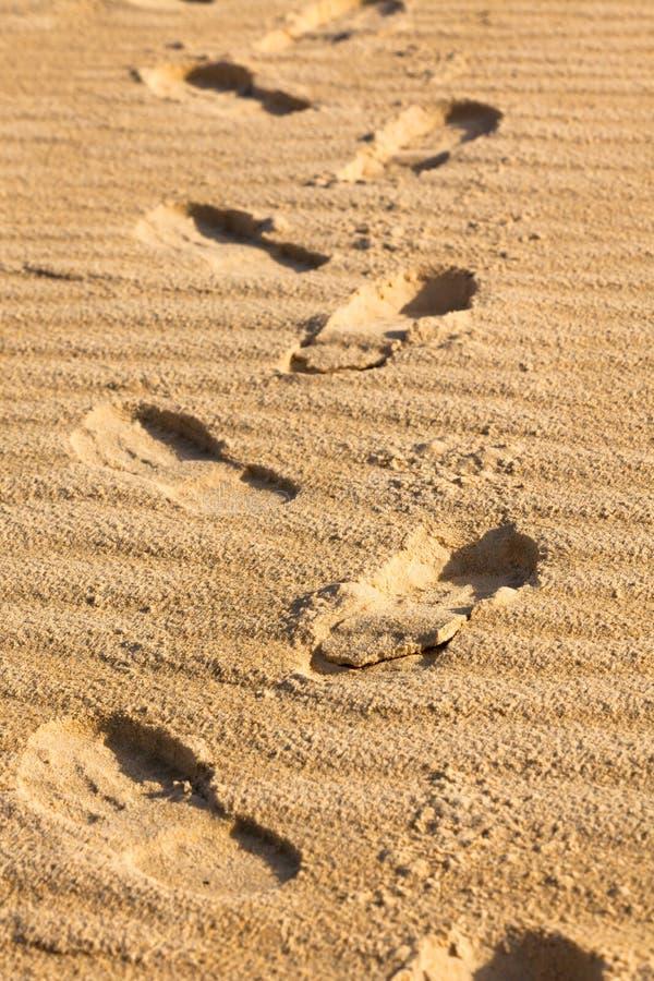 Fotspår på en sand arkivfoto