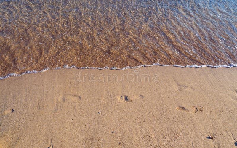 Fotspår på en tom sandig strand - litet att närma sig för vågor royaltyfri fotografi
